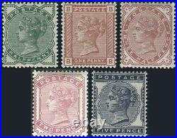 1880-1881 Surface Printed Sg 164-Sg 169 Average Mounted Mint Single Stamps