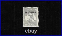 1924 Australia £1 Grey Kangaroo Specimen O'print Type C Mint Un Hinged