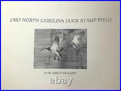 1983 NORTH CAROLINA 1st. Of STATE WATERFOWL PRINT with MINT STAMP