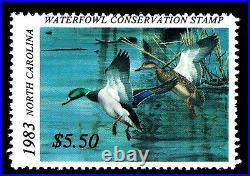 1983 NORTH CAROLINA 1st. Of STATE WATERFOWL PRINT with MINT STAMP VF