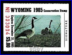 1985 WYOMING 1st. Of STATE WATERFOWL PRINT with MINT STAMP VF