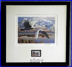1986 UTAH 1ST OF STATE WATERFOWL PRINT SIGNED/NUMBERED With MINT STAMP (ESP 010)