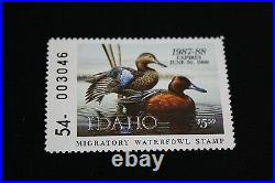 1987 Idaho Migratory Waterfowl Print Mint Stamp First of State Folio Signed