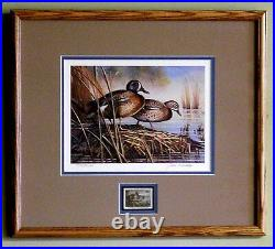 1990 SD WATERFOWL PRINT FRAMED ARTIST SIGNED/NUMBERED With MINT STAMP (ESP 002)