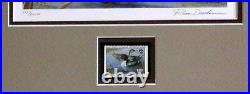1991 SD WATERFOWL PRINT FRAMED ARTIST SIGNED/NUMBERED With MINT STAMP (ESP 004)