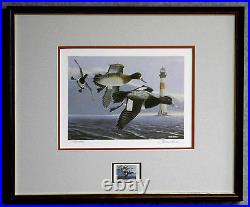 1993 SC WATERFOWL PRINT FRAMED ARTIST SIGNED/NUMBERED With MINT STAMP (ESP 011)