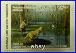 1998 Arkansas Waterfowl Duck Conservation Stamp Print New Mint Mallards Hunting