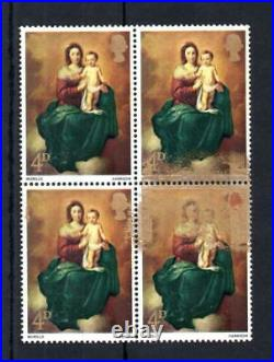 4d CHRISTMAS 1967 UNMOUNTED MINT BLOCK + EXCELLENT GOLD PRINTING ERROR