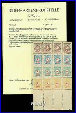 BRAZIL 1929 AIRMAIL E. T. A. 1st printing BLOCK M/S of 16 Sc# 2CL5a mint MH RARE