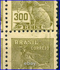 Brazil 335 Mint NH 300r olive green block of 4, Rare Double printing on 2 stamps