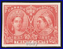 CANADA 1897 QV Jubilee 20c vermilion, imperf proof, on card. Only 850 printed