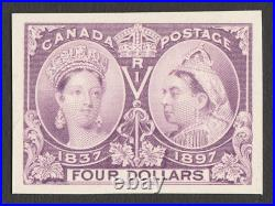 CANADA 1897 QV Jubilee $4 violet, imperf Proof. Only 650 printed