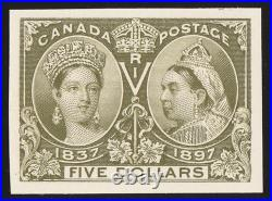 CANADA 1897 QV Jubilee $5 imperf proof. Normal cat £1400. Only 800 printed