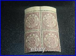 CHINA 1897 Sc#86 1/2c Coil Dragon Japan Print Marginal Blk/4 Mint NH VF