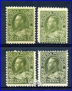 Canada 119b, c, d F MH Wet printing 20c Admirals in green shades CV $440+