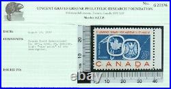 Canada #387i Very Fine Never Hinged Double Printed Variety With Certificate