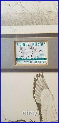 Duck stamps print framed 41/150 Paul B. Johnson drawing mint rare pencil art