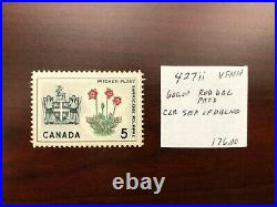 ERROR Canada 1966 Newfoundland SC #427ii Red Double Printed 5c Pitcher Plant MNH