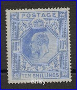 Ed VII SG319. 10s blue. Somerset House printing. Fresh unmounted mint