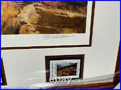 Eldridge Hardie 2007 Texas Quail Stamp Print w Double Stamps Mint, New Frame