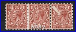 GV SG420. 1 1/2d strip x 3 with white printing flaw error to 1 value. Mint
