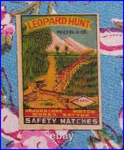 India Match Box Label Leopard Hunt Lithograph Print Mint No Gum