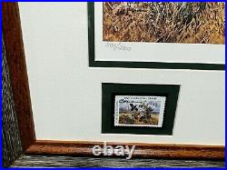 John Cowan 1991 Texas Quail Stamp Print and Stamps Mint, New Frame
