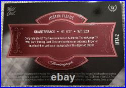Justin Fields Matte Black Thumbagraph RC, Gold Ink Auto #/15, Short Print