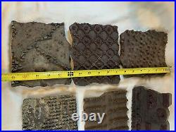 Lot of 6 Vintage Wood Paint Wall Paper Pattern Printing Block Stamp Stencil a779