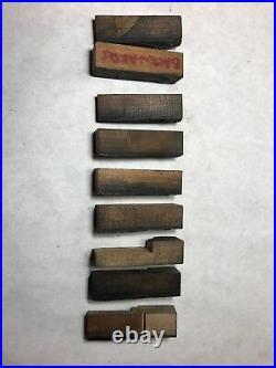 Lot of 9 Wood and Metal Printing Press Letterpress Block Stamp Borders