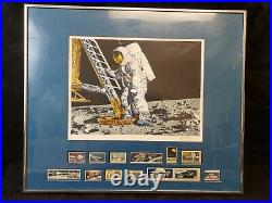 Paul Calle Signed Conquest of Space Astronaut lithograph Stamps Franklin Mint