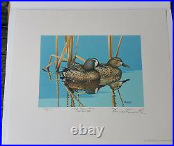 Rockne Knuth First Day signed Wisconsin Duck Stamp Print, withmint stamp, 1983