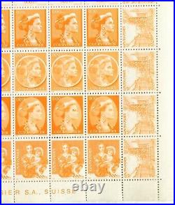 Swizertland Courvoisier Proof Full Sheet Most Rare Of All Trial Prints Mint