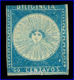 URUGUAY 1856 DILIGENCIAS 60c blue Scott # 1 mint MH Printing flaws Scarce