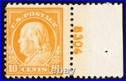 US Sc# 510 MINT OG NH PRINT ERROR DOUBLE PL# BEAUTY 10c FRANKLIN OF 1917
