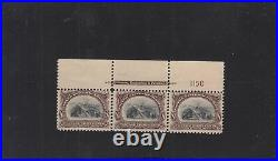 US Scott #298 Number Plate block of 3 with engraving Print Shift MINT MNH