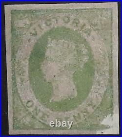 VRare 1858- Victoria Australia 1d Emerald Grn Emblem stamp Mint Printed gum side