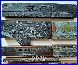 Vintage Printing Press Blocks metal wood Stamps Colorado Advertising GM lot